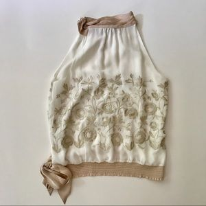 WHBM Halter Top with Gold Embroidery